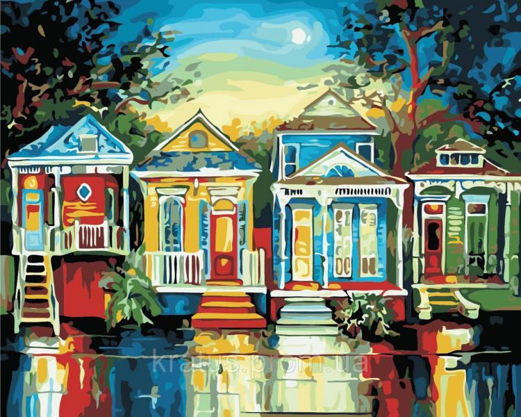 "AS 0372 ""Цветные домики"" Картина по номерам на холсте Art Story 40x50см"