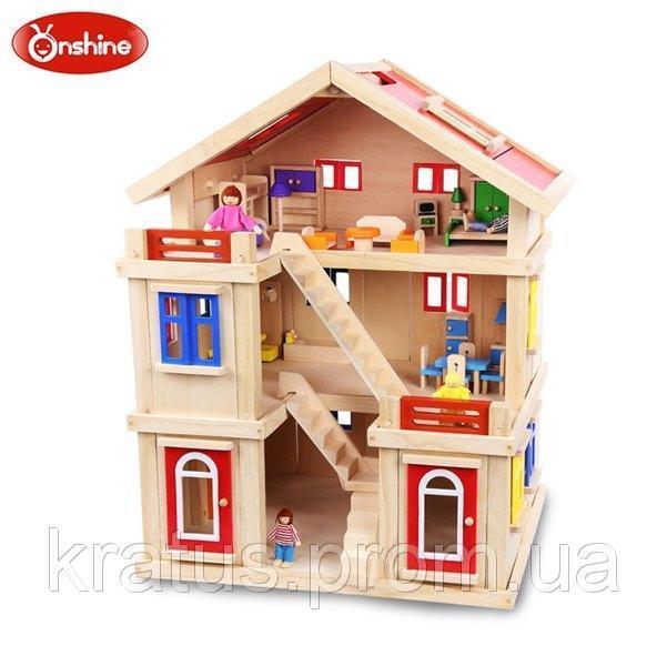 TNWX-1269 Большой кукольный домик с мебелью (ручная работа)