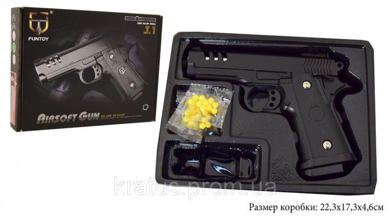 Фото Игрушечное Оружие, Стреляет пластиковыми 6мм  пульками, Металлическое и комбинированное (металл + пластик) оружие Пистолет металлический  J 1