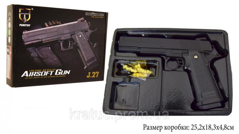 Фото Игрушечное Оружие, Стреляет пластиковыми 6мм  пульками, Металлическое и комбинированное (металл + пластик) оружие Пистолет металлический  J 27 (масштабная копия 1:1  реплика кольта 1911)