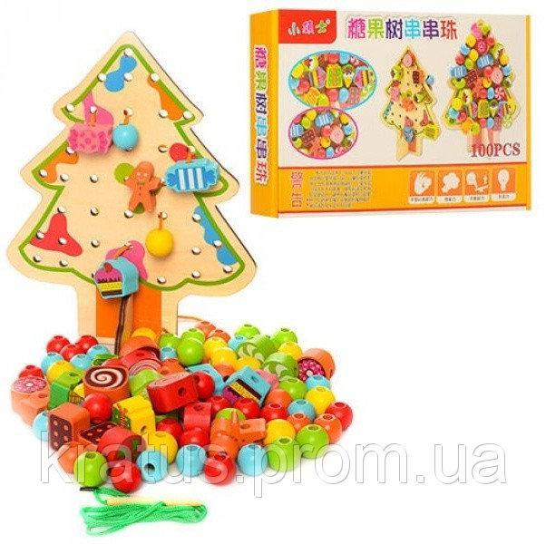 B 24503 Деревянная игрушка Шнуровка Елка