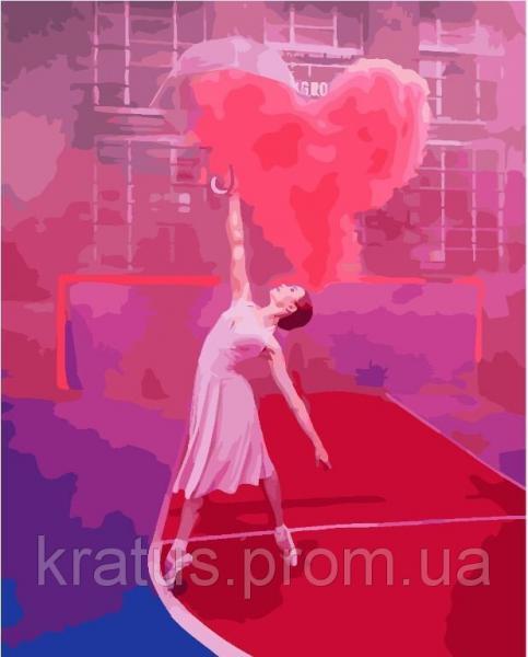 """GX 24877 """"Балерина с воздушным сердцем""""  Роспись по номерам на холсте 40х50см без коробки, в пакете"""