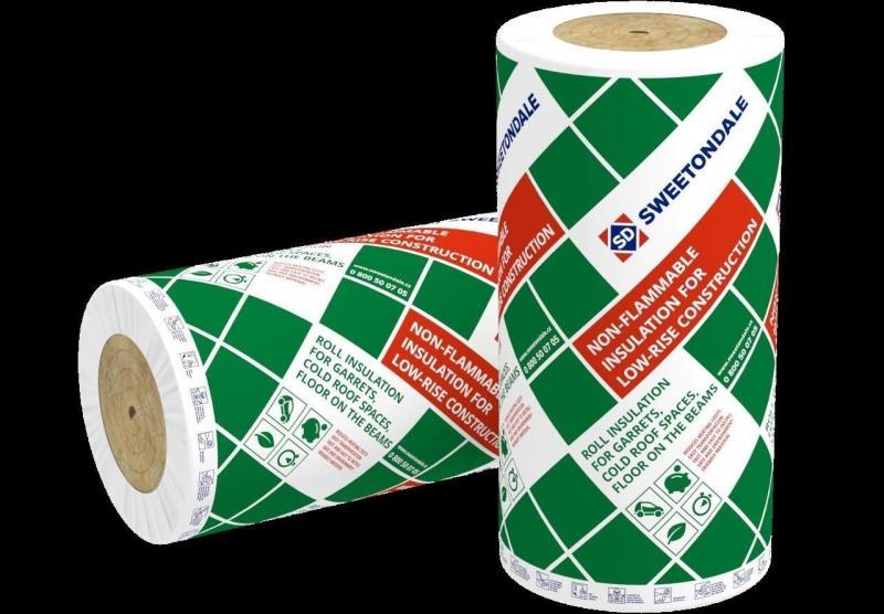 Утеплитель базальтовый  ТЕПЛОРОЛЛ (в рулонах) 28 кг/м3 4000*1000*100мм/4 кв.м.