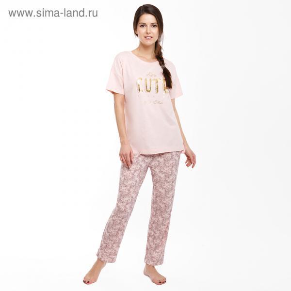 Комплект женский (футболка, бриджи) 1315-6 (592276) цвет розовый, р-р 46 (M)