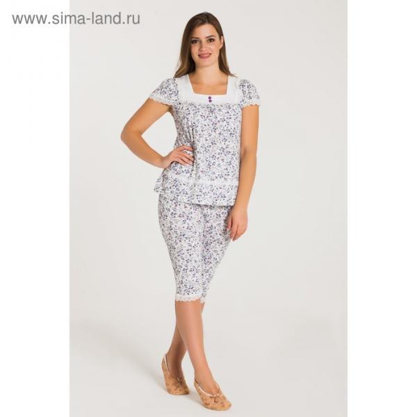Пижама (футболка, бриджи) женская 233 цвет фиолетовый, бамбук, р-р 50