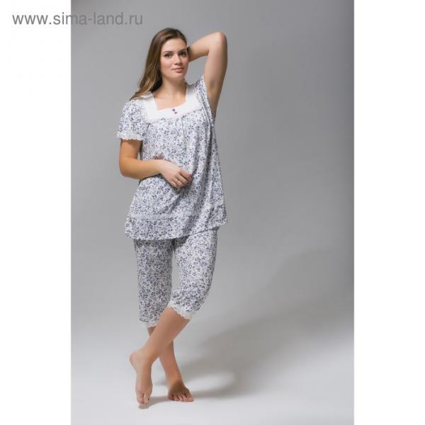 Пижама (футболка, бриджи) женская 238 цвет белый, принт розовые цветы, бамбук, р-р 48