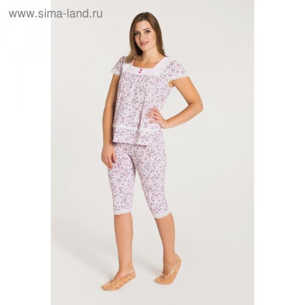Пижама (футболка, бриджи) женская 233 цвет розовый, бамбук, р-р 48
