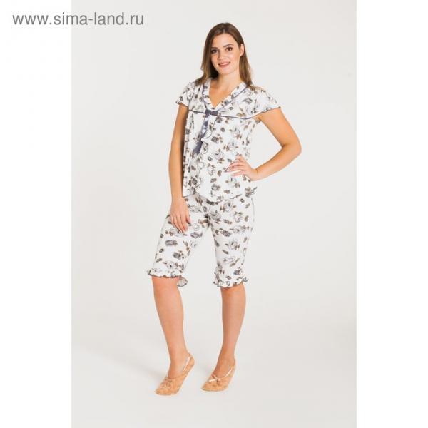 Пижама (футболка, бриджи) женская 212 цвет серый, бамбук, р-р 48