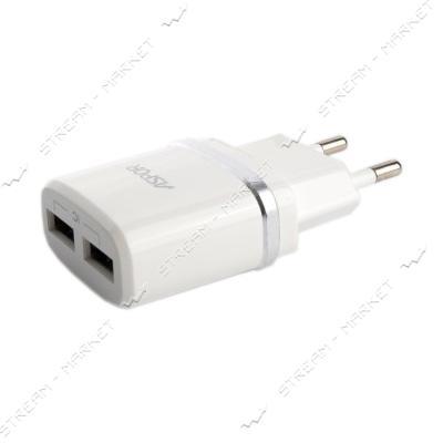 Сетевое зарядное устройство Aspor А828 5V/2.4A 2USB Lightning кабель