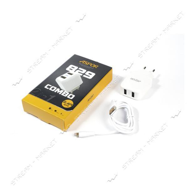 Сетевое зарядное устройство Aspor А829 5V/2.4A 2USB Lightning кабель