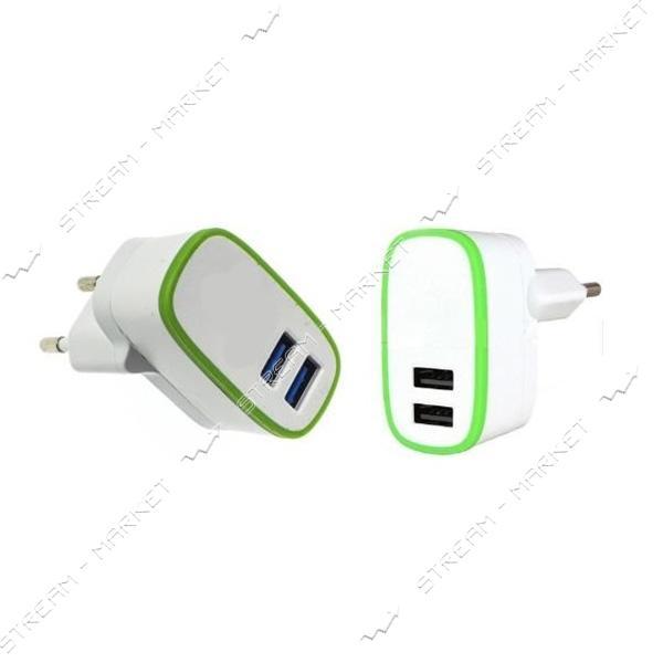 Сетевое зарядное устройство ADC-F4 5V/2.1А 2USB, c окант. и LED подсветка