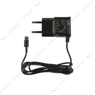 Сетевое зарядное устройство'iPhone 5/6' 5V/0.8А, цвет черный (цельный провод)