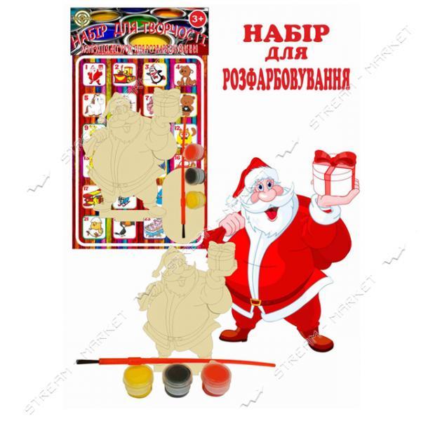 Набор деревянный для раскраски 001 'Дед Мороз' (фигурка кисть краски)