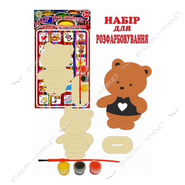 Набор деревянный для раскраски 008 'Мишка' (фигурка кисть краски)