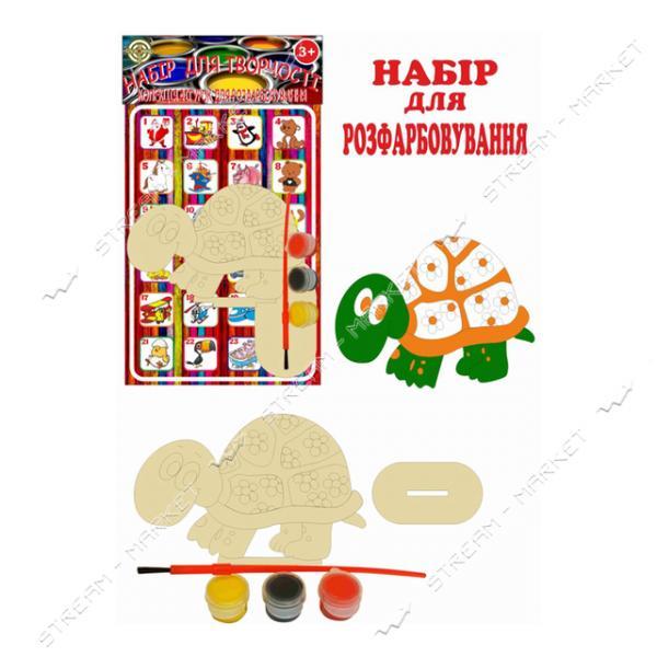 Набор деревянный для раскраски 011 'Черепашка' (фигурка кисть краски)