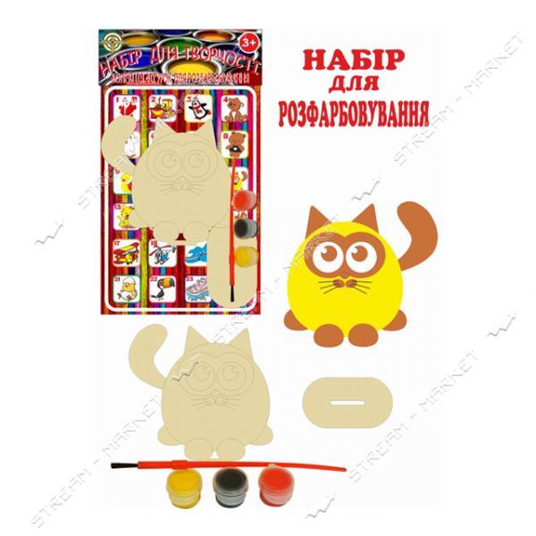 Набор деревянный для раскраски 012 'Котик' (фигурка кисть краски)