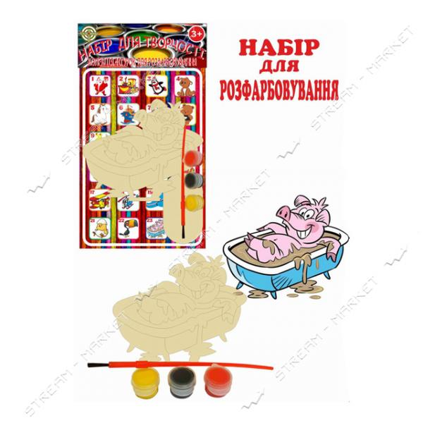 Набор деревянный для раскраски 023 'Грязнуля' (фигурка кисть краски)