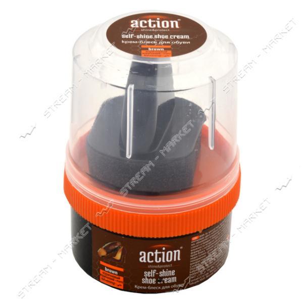 'ACTION' крем-блеск для обуви в банке с губкой 50 мл (коричневый)