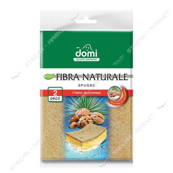 DOMI Губка кухонная Натуральная фибра 2шт