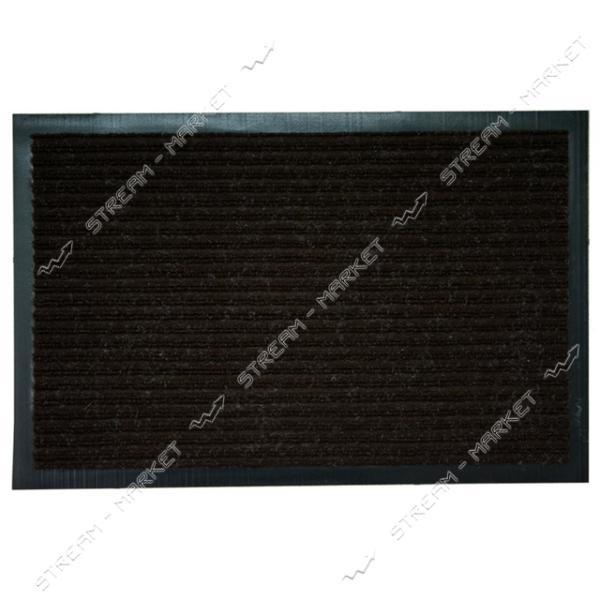 Коврик входной резиновый черный Ребро с ворсом 40х60см