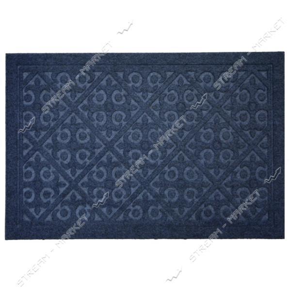 Коврик входной прямоугольный Рубчик с ворсом 40х60см (голубой)