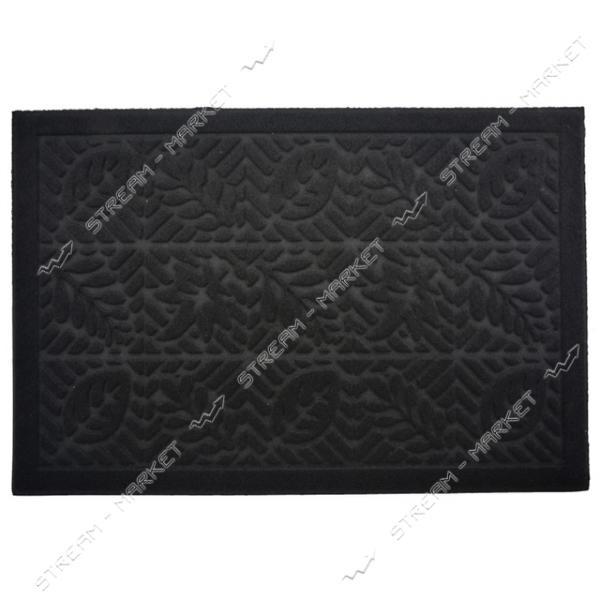 Коврик входной прямоугольный Рубчик с ворсом 40х60см (черный)