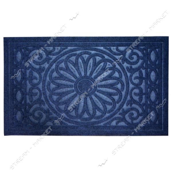 Коврик входной прямоугольный Рубчик с ворсом 45х75см (голубой)