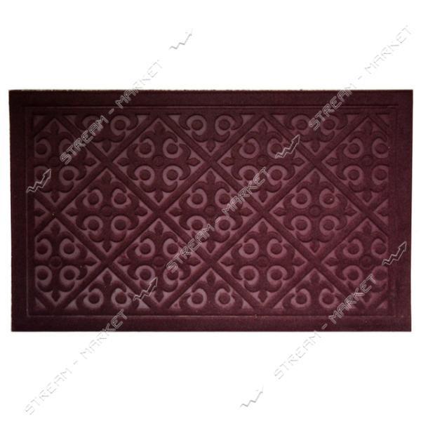 Коврик входной прямоугольный Рубчик с ворсом 60х90см (бордовый)