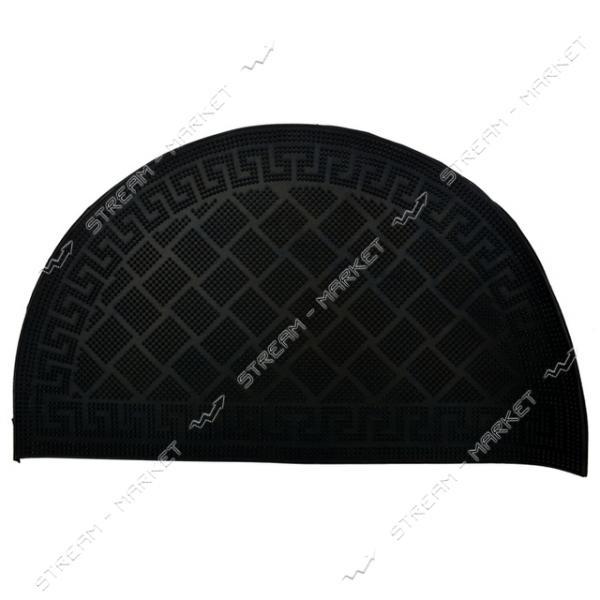 Коврик входной резиновый полукруглый Змейка 45х75см черный