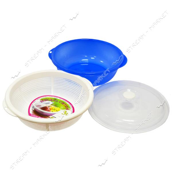 Дуршлаг круглый цветной пластик тройка (дуршлаг ковш крышка) d=25
