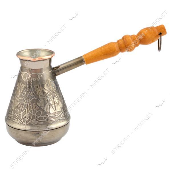 Турка медь белая ручка узкое горло 380 мл Пятигорск