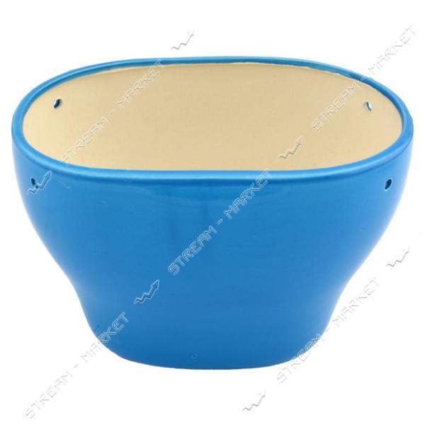 Горшок керамический для цветов 3л голубой