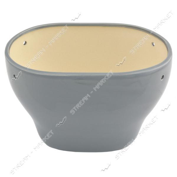 Горшок керамический для цветов 3л серый