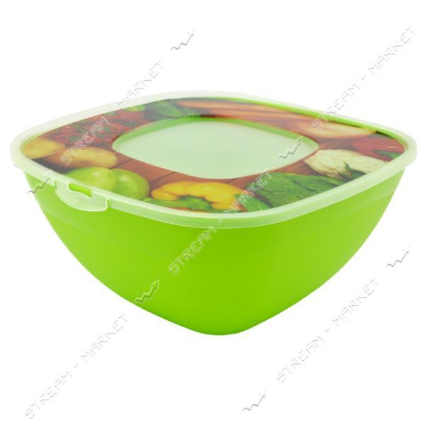 Салатник с крышкой с фоторисунком Весна 2.5л цвета в ассортименте