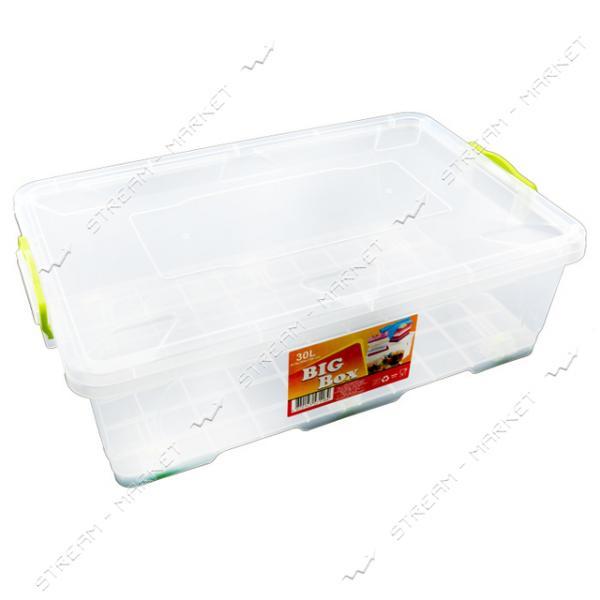 Контейнер пищевой прозрачный 30 л (ручки-защелки) на колесиках