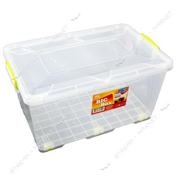 Контейнер пищевой прозрачный 50л (ручки-защелки) на колесиках