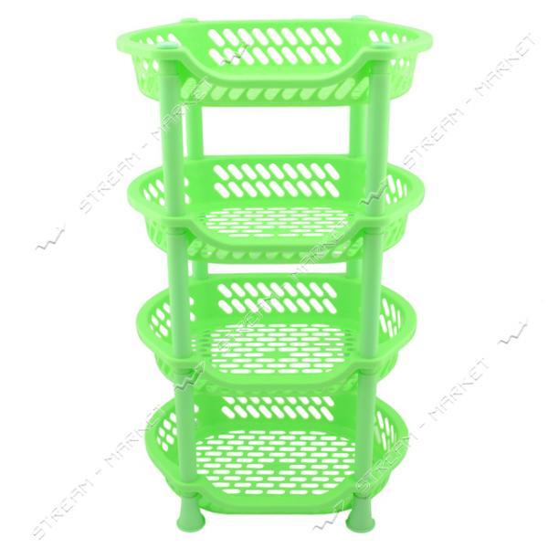 Этажерка пластиковая 4 яруса зеленая