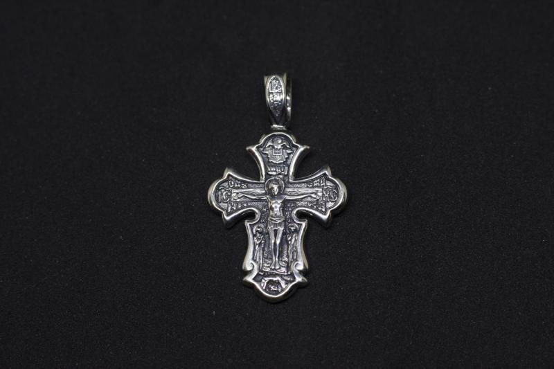 Серебряный нательный крест  Распятие Христово. Святые мученицы Вера, Надежда, Любовь и мать их София