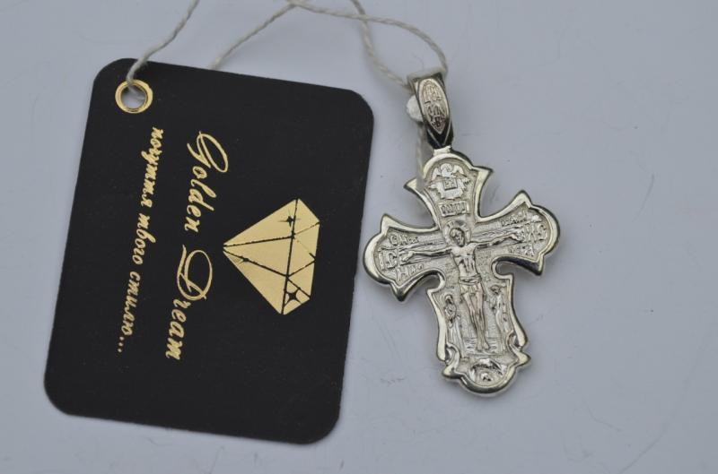 Фото Кресты Серебряный нательный крест  Распятие Христово. Святые мученицы Вера, Надежда, Любовь и мать их София