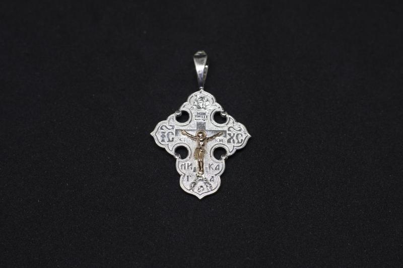 Фото Кресты Серебряный крест 925 с золотым распятием 585