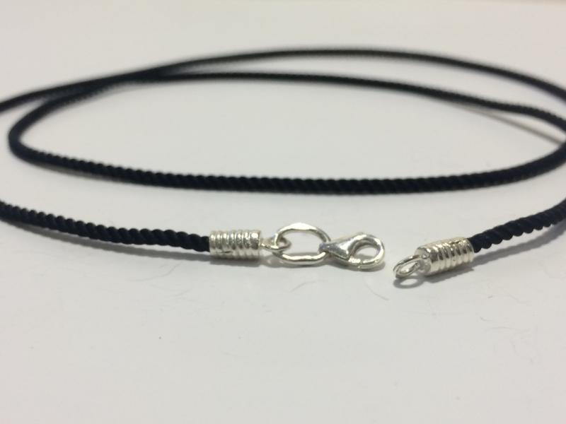 Шёлковый Шнурок с серебряными окончаниями и карабином