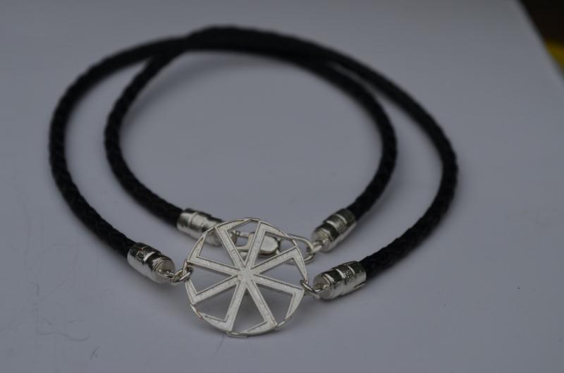 Двойной кожаный браслет с Славянской символикой(обереги)