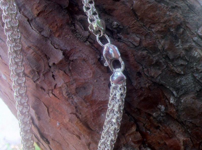 Фото Цепочки Серебряная цепочка двойной ручеёк
