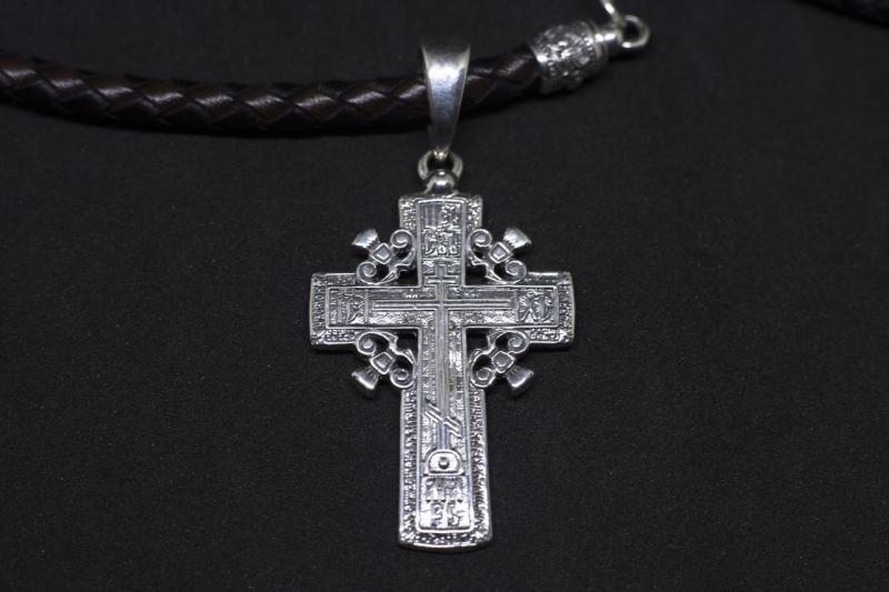 Кожаный плетёный шнурок  и Крест Штурвал серебро 925