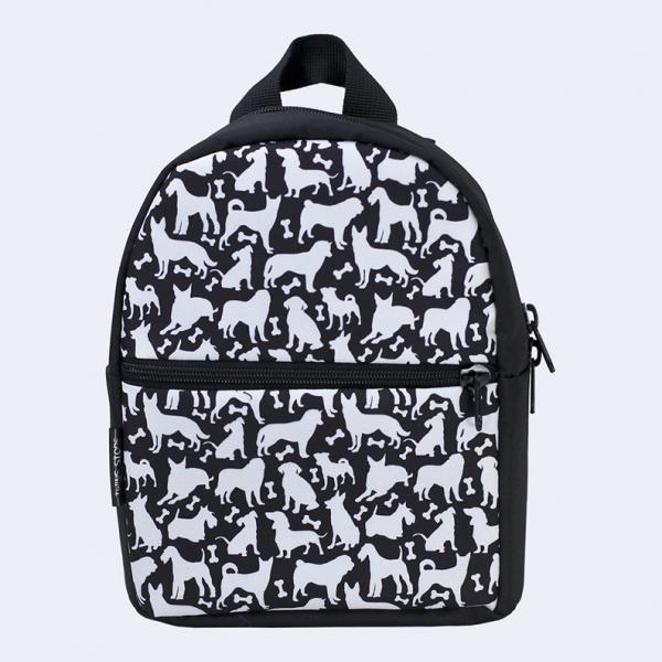 Детский черный рюкзак с собаками