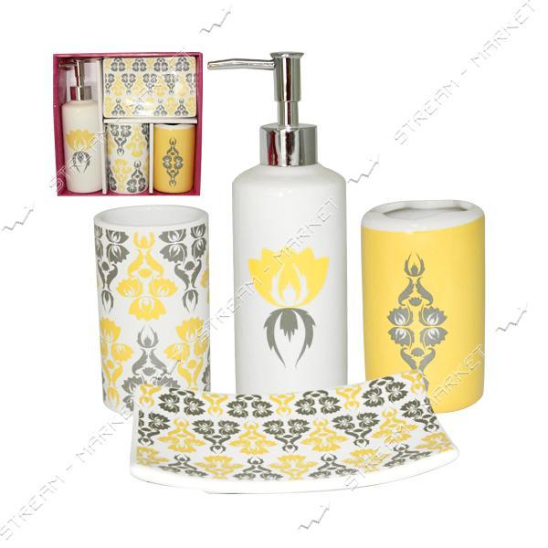 Набор для ванной комнаты 'Сказка' SNT 888-06-011, 4 предмета, керамика, цвет белый/жолтый/ рысунок