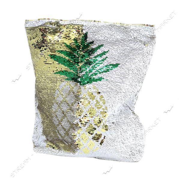 Сумка пляжная с пайетками Ананас 39х37х9 см