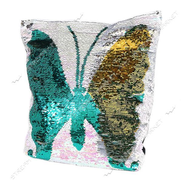 Сумка пляжная с пайетками Бабочка 39х37х9 см
