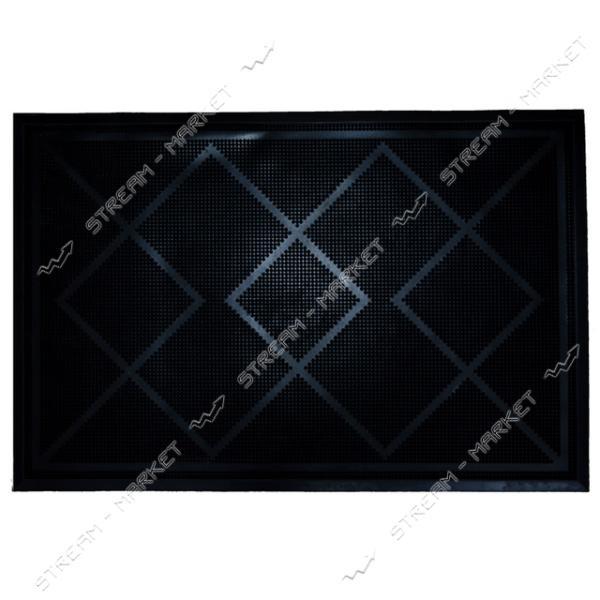 Коврик входной резиновый Ромб 60х90см черный