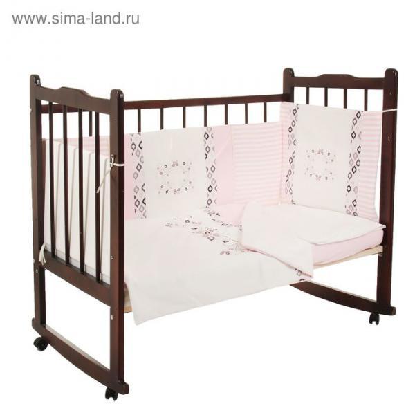 """Комплект в кроватку """"Очарование"""" (6 предметов), цвет розовый 10016"""